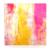 """CarolLynn Tice """"Growing Taller"""" Pink Yellow Luxe Square Panel"""