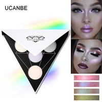 UCANBE Brand Triangle Glitter Eyeshadow Palette Holographic Shade Eye Lip Face Makeup Shimmer Shine Powder Nude Eye Shadow