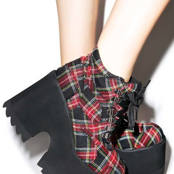 Current Mood Plaid Decisions Code Boots Red Plaid