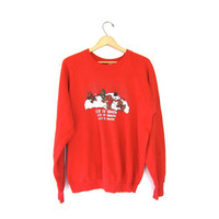 Ugly Christmas sweatshirt 80s Let It Snow red tacky xmas raglan sweater SNOWMAN BEARS holiday party Large XL