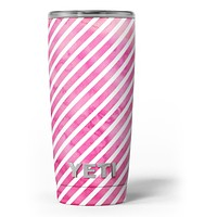 The Pink Watercolor Grunge with Slanted Stripes - Skin Decal Vinyl Wrap Kit compatible with the Yeti Rambler Cooler Tumbler Cups