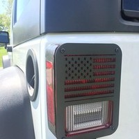 "Xprite 2007 - 2016 Jeep Wrangler JK Unlimited Black Light Guard "" American Flag "" For Rear Taillights ( Tail Light ) Cover - Pair"