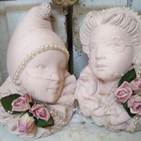 Shabby chic vintage chalkware wall decor man and woman harlequins masquerade sculptures Anita Spero