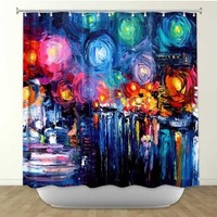 DiaNoche Designs Shower Curtains by Arist Aja-Ann Unique, Cool, Fun, Funky, Stylish, Decorative Home Decor and Bathroom Ideas - Midnight Harbor xix