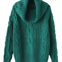 Deep Green High Neck Chunky Cable Long Sleeve Knit Sweater