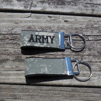 Embroidered Mini US Army fob, ACU camo, black embroidery