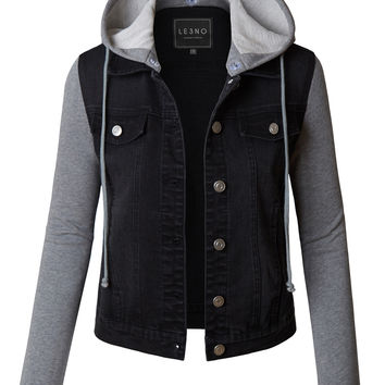 LE3NO Womens Distressed Long Sleeve Cropped Denim Jacket with Detachable Fleece Hoodie (CLEARANCE)