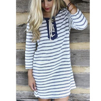 White and Navy Blue Striped Lace Up Front T-Shirt