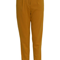 Mahsa High Waisted Chino Trousers in Mustard
