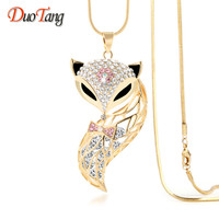 DuoTan Fox Pendant Necklace Trendy Zinc Alloy Animal Snake Chain Long Necklace Rhinestone Necklaces For Women Jewelry M0022