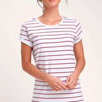 Cafe Society White and Red Striped Shirt Dress