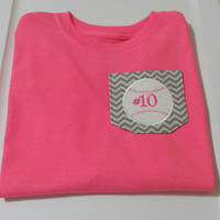 Personalized Chevron Baseball or Softball Tee - Monogrammed with Name or Number
