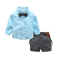 Formal baby boys clothing sets infant Children's tie shirt party wedding two-piece suit boys clothes