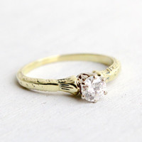 Antique 14k Yellow & White Gold Art Deco 1/3 Carat Diamond Ring - Size 6 Vintage Filigree 1920s Solitaire Engagement Wedding Fine Jewelry