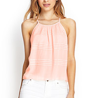 FOREVER 21 Micro Pleated Cami Peach Large