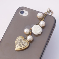 1PC Retro Alloy I Love You Heart Photo Locket Flower Cell Phone Earphone Antidust Plug Charm for iPhone 5c,5s, Samsung S3,S4 Gift for Him