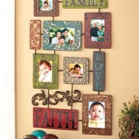 Elegant Inspirational Faith Family Love Embossed Scrollwork Metal Collage Photo Picture Frame Red Blue Green Brown Swirls Scrolls Wall Decoration Hanging Home Accent Decor