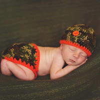 Camouflage and Orange Baby Diaper Cover and Baby Hat Set