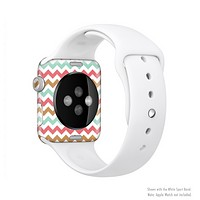The Vintage Brown-Teal-Pink Chevron Pattern Full-Body Skin Kit for the Apple Watch