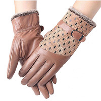 Women's Winter Fashion Warm Thicken Dot Pattern Genuine Leather Peacock Gloves High quality Mittens 6 Color AT032