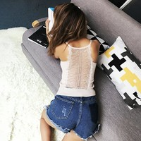 Stylish Hot Comfortable Bralette Sexy Beach Summer Spaghetti Strap Backless Hollow Out Slim Vest [11833601423]