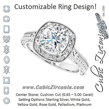 Cubic Zirconia Engagement Ring- The Eowyn (Customizable Vintage Artisan Cushion Cut Design with 3-Sided Filigree and Side Inlay Accent Enhancements)