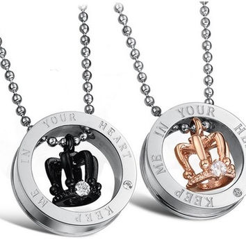 1Pair His and Hers Keep Me in Your Heart Love Cherish Black and 18K Rose Gold Plated CZ Crystal Engraved Royal Crown Titanium Steel Pendant Couple Necklaces 603 (Color: Multicolor) (With Thanksgiving&Christmas Gift Box)= 1929850692