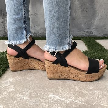 Arial Open Toe Cork Wedges in Black