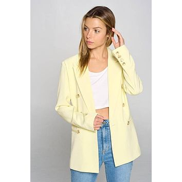 Fore Collection Double Breasted Blazer Lemon Yellow