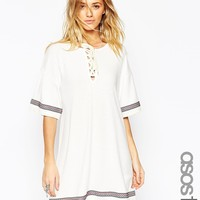 ASOS TALL Kimono Dress with Lace Up Detail and Festival Trim