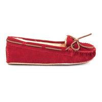 Minnetonka Cally - Red Suede Pile-Lined Moccasin