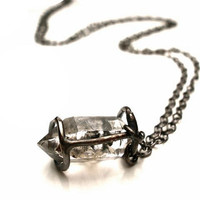 Caged Herkimer Diamond Necklace in Oxidized Sterling Silver