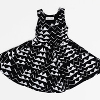 Hand Printed Organic Mountain Twirling Dress in White on Black
