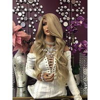 """Blonde Highlights Swiss Lace Front Wig 