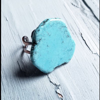Blue Turquoise Chunky Ring 012H