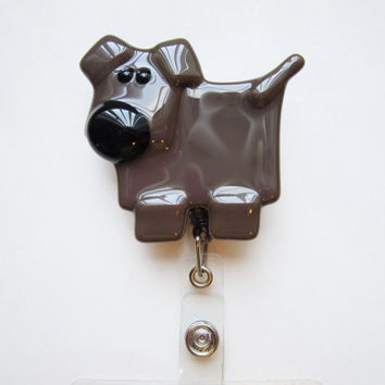 Chocolate lab lover ID badge holder, ID lanyard, retractable ID reel, dog lover gift, badge for pet industry worker, nurse or veterinarian