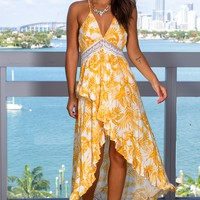 Yellow Printed High Low Dress