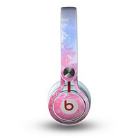The Pink to Blue Faded Color Floral Skin for the Beats by Dre Mixr Headphones