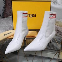 2020 New Office FENDI women Logo-embossed leather knee boots high heel shoes knight lace up brown Boots top quality
