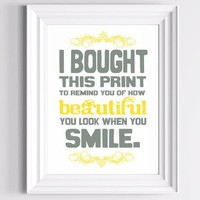 Smile Handmade Print I Bought this Print Gray and by TheWallaroo