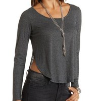 Ribbed Long Sleeve High-Low Tee by Charlotte Russe