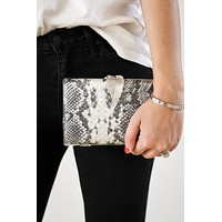 Metal Leaf Snake Print Clutch