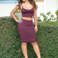 Smooth Down Skirt - Burgundy