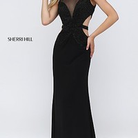 Sherri Hill Long Black Open Back Dress with Side and Back Cut Outs
