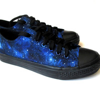 Custom handpainted galaxy sneakers,personalized shoes, galaxy converse, galaxy vans, low top galaxy
