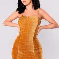 Merida Velvet Dress - Gold