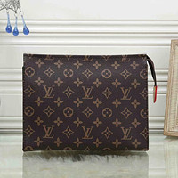 LV Louis Vuitton Hot Sale Full Letter Zipper Cosmetic Bag Clutch Briefcase Toiletry Bag