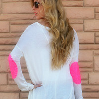 Rock Candy Neon Pink Sequin Patch Top