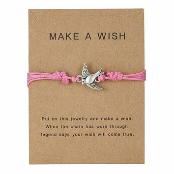 """Make A Wish"" Dove Bird Note Card Pink String Bracelet"