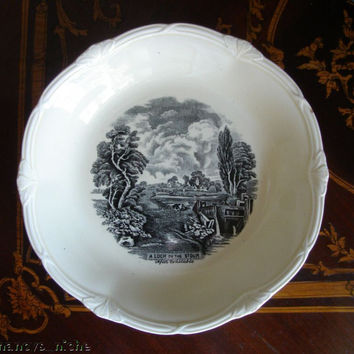 Vintage Black Transferware Plate Bowl Scenic Stour River English Earthenware Creamware Black Toile China John Constable Painting Grindley